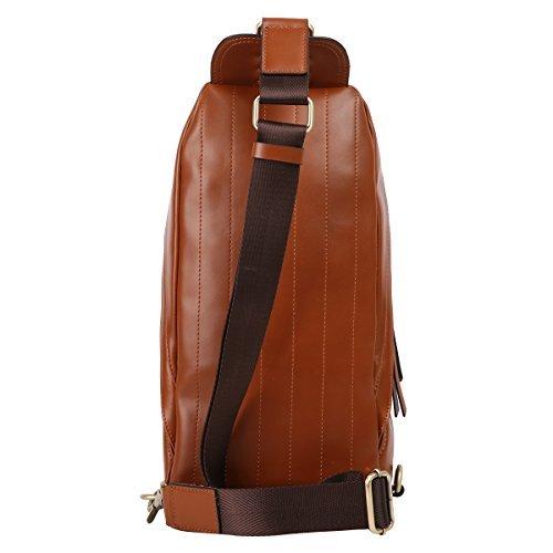 bf45c8f89e Leathario Men s Leather Sling bag Chest bag One shoulder bag - Import It All