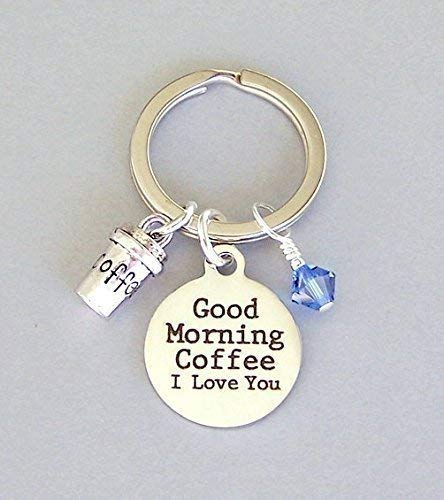 coffee lover keyring good morning unisex keychain gift with travel cup and birthstone color