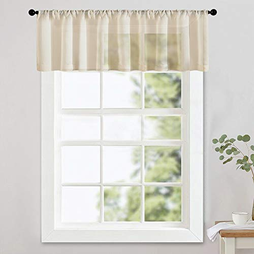 Used, MRTREES Beige Sheer Valances 16 inches Long Living for sale  Delivered anywhere in USA
