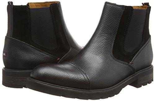 Tommy Hilfiger CURTIS 11A - botines chelsea de cuero hombre negro - Schwarz (BLACK 990)