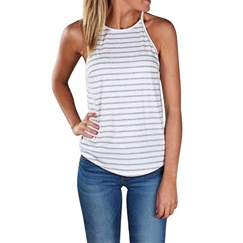 Sleeveless Crew Tee - WLLW Women Crew Neck Sleeveless Floral Print Shirt Tops Tee Tanks Camis (US S, Stripe)