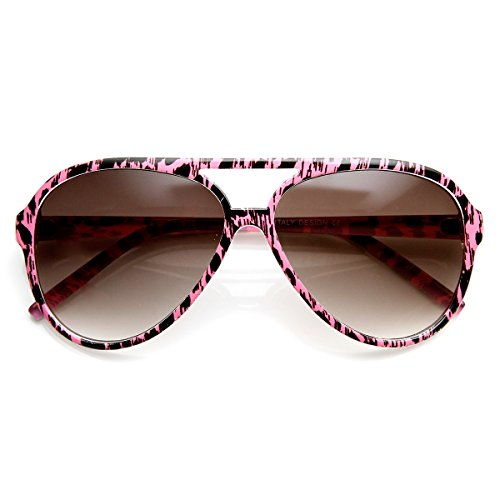 zeroUV - Womens Fashion Colorful Spotted Animal Print Aviator Sunglasses (Pink-Cheetah - Glasses Print Cheetah Frames
