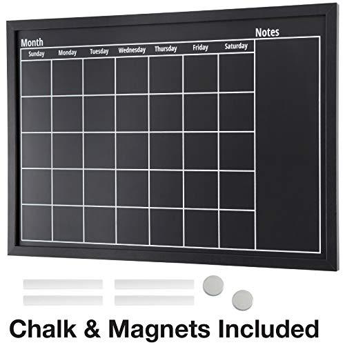 Framed Calendar Chalkboard: Includes Chalk & Magnets/Chalk Board Size 23.5