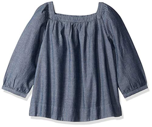 LOOK by Crewcuts Girls' 3/4 Sleeve Square Neck Top, Chambray, XXX-Large (16)