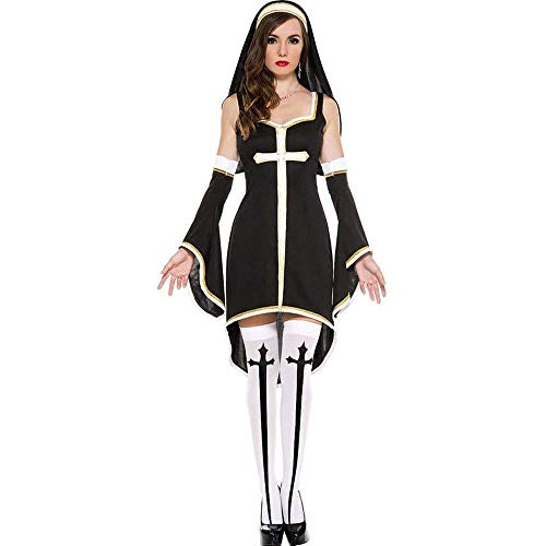 Fashion-Cos1 Halloween Sexy Nun Costume Ladies Priest Pastor Porn Games Tube Dress Erotic Bodysuit Stocking Suit for Girls