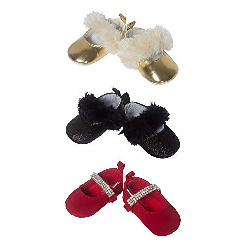 3 Pack Baby Girl Soft Sole Mary Jane Pre Walker Shoes- Baby Girl Dress Shoes for Holiday, Wedding & Special Occasion- Assorted Pack in Gold Black & Red- Infant & Toddler 6-12 Months, Baby Shoe Size 4 ()