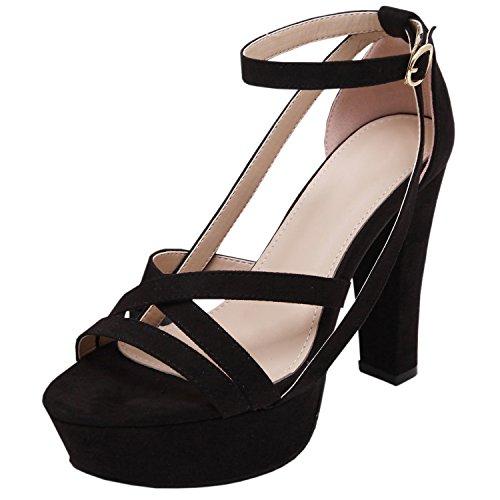 de Plataforma Mujer Sólido Oasap Zapatos Alto Pu Tacón Color Negro ExHwEXAq1