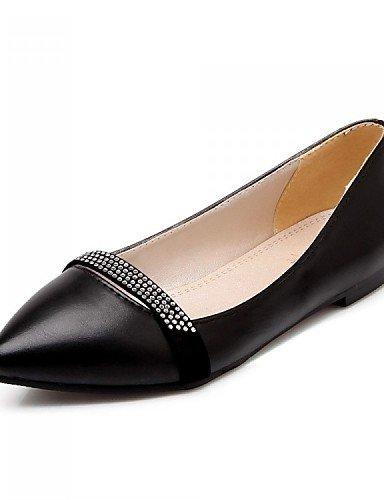 piel vestido beige plano uk4 eu36 Flats Punta zapatos casual oficina carrera de Bailarina talón negro mujer y sintética PDX de comodidad cn36 us6 Toe 0HIwqfa