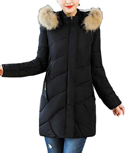 Cappuccio A Imbottitura Cappotto Donna Invernale Warm Lunga Con Da Giacca Sintetica Pelliccia Nera In Ttyllmao Coste Down Oq0qTw