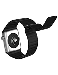 Apple Watch Band, JETech 42mm Genuine Leather Loop with Magnet Lock Strap Replacement Band for Apple Watch 42mm All Models No Buckle Needed (Black) - 2180