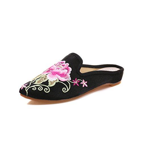 On Spitze Schuhe Stickerei YIBLBOX Chinesische Müßiggänger frauen Hausschuhe Frauen Backless Mules Floral Für Slip Casual Satin Schwarz Zehe Haus TZ8pZq