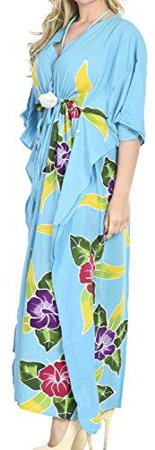 La Leela peinture longue main de rayonne douce lisse femmes cadeau collier soirée décontractée robe de maillots de bain caftan nuisette plage kimono couvrir turquoise