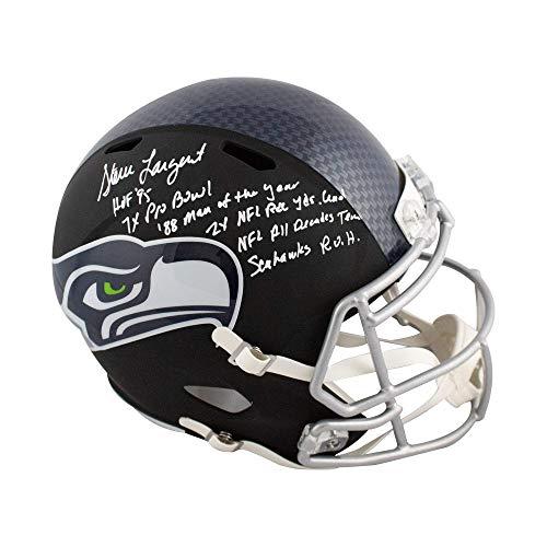 (Steve Largent Autographed Seahawks Flat Black Full-Size Football Helmet JSA 6 Inscrip)