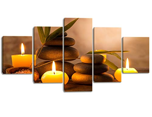 Modern 5 Panels Wall Decor Aromatic Candles and Zen Stones Canvas Art Wall Spa Artwork Easy to Hang for Bedroom Bathroom Spa Decor Decor Stretched and Wooden Framed Ready to -