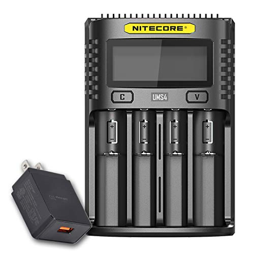 NITECORE UMS4 Intelligent USB Four Slot Quick Battery Charger for Li-Ion/Ni-MH/Ni-Cd/IMR 16340 14500 18650 21700 20700 AA AAA and More Batteries, with LumenTac QC3.0 Charging Adapter