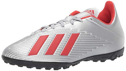 adidas Men's X 19.4 Turf Soccer Shoe, Silver Metallic/hi-res red/White, 12.5 M US