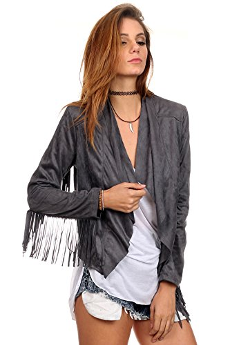 - MeshMe Womens Ginny - Charcoal Gunmetal Grey Fringe Faux Suede Cardigan Long Sleeve Fringed Blazer Open Front Casual Slim Fit Fitted Rockstar Rock N Roll Retro Cute Statement Outerwear Jacket Small