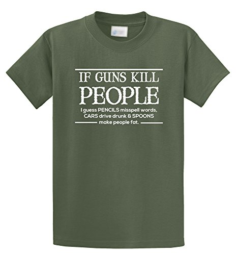 Comical Shirt Men's If Guns Kill People Pencils Misspell Words.. Funny Olive - Olive Peoples