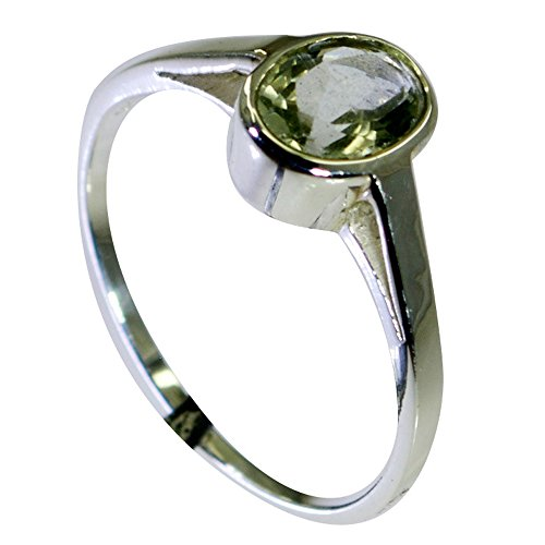 Gemsonclick Original Green Amethyst Silver Rings On Anniversary For Women In Oval Bezel Style Size 5-12 - 10 Oval Mens Ring Setting