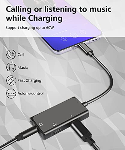 USB C to 3.5mm Audio Adapter, Mxcudu 3 in 1 USB C Male to 3.5mm&USB C Headphone Jack and Charging Adapter Compatible with Google Pixel 4/4XL/3/3XL/2XL, Galaxy S20/S20+/Note 20/10/10+ and More(Black)