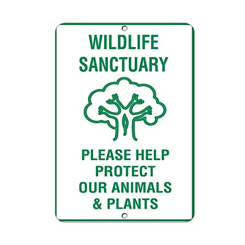 BIN SHANG Rustic Metal Sign Post Wildlife Sanctuary Please Help Protect Our Animals Plants Aluminum Wall Art Plaque Decoration
