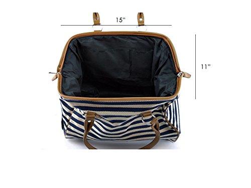 Classic Nautical Stripe 17'' Framed Duffel Bag Carry On Shoulder Tote Handbag by Tara's Travelers (Image #6)