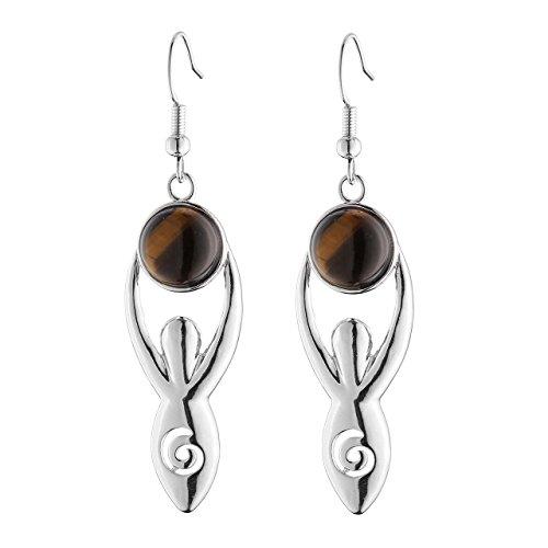 (Top Plaza Fashion Silver Spiral Goddess Earth Mother Charm Copper Dangle Drop Earrings Chakra Healing Crystal Natural Gemstone Hook Earrings(Tiger Eye)