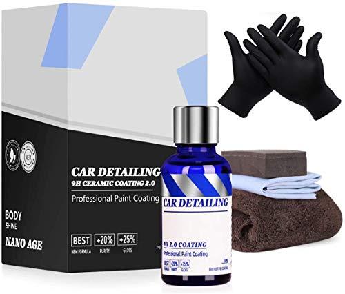 Yocisku 9H Nano Ceramic Coating Pro, Hydrophobic Gloss Shine Easy to Use Polymer Paint Protection Car Kit Last for 18…