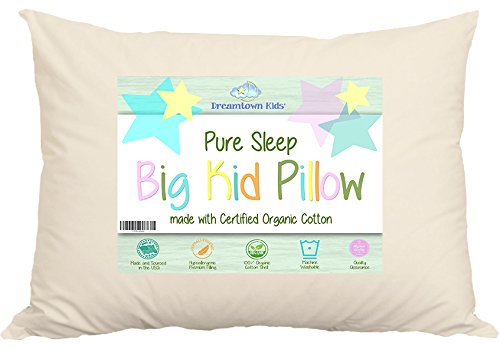 Large Toddler Pillow by Dreamtown Kids For Growing Kids Not Quite Ready For Adult Size. Delicate Handmade Organic Cotton Shell. Your Pure Sleep 16×22 …