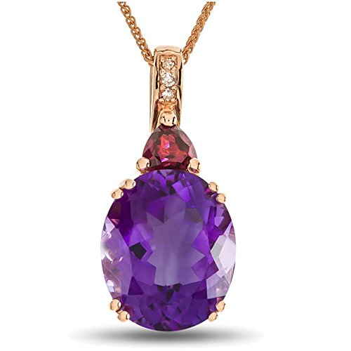 LALI Classics 14k Rose Gold 12x10mm Amethyst and Rhodolite Oval Pendant ()