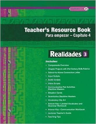 Realidades 3 Teacher S Resource Book Para Empezar Capitulo