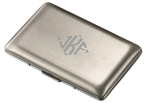Visol Antique Silver Double Sided Business Card Case with Free Laser Engraving (Diamond Monogram) Antique Silver Card Case