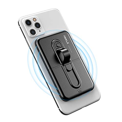 iWALK Wireless Power Bank 5000mAh, Mini Portable Charger by Sticking to Phone, Compatible with iPhone 12/12 Mini/Pro Max/11/11 Pro/SE 2/X/XS/XS MAX/XR/8 and Samsung S20/S9/S9+/S10/Note 20