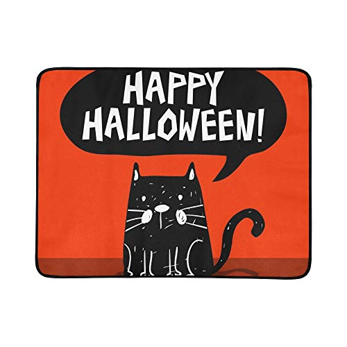 JXCSGBD Funny Halloween Greeting Card Black Cat Portable and Foldable Blanket Mat 60x78 Inch Handy Mat for Camping Picnic Beach Indoor Outdoor Travel]()