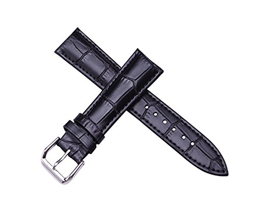 Women's Black Replacement Watch Band with Crocodile Embossed Genuine Leather 12mm
