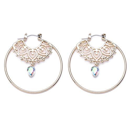 WEILYDF Round Earrings Simple Unique Beads Openwork Carved Earrings Shiny Teardrop Dangle Ear Ornament Court Earrings