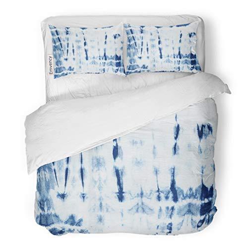 - Tarolo Bedding Duvet Cover Set Blue Pattern Abstract Batik Tie Dyed of Indigo Color on White Hand Dye Fabrics Shibori Dyeing Navy Ink 3 Piece Queen 90