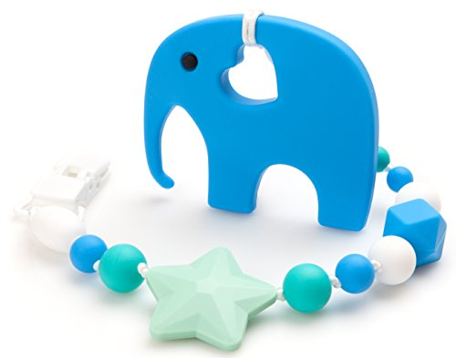 Baby Elefun Teething Toy and Universal Pacifier Clip / Teether / Binky Holder (blue) (Where To Buy Big Teddy Bears)