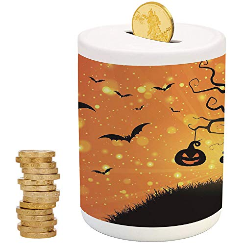 iPrint Halloween,Money Bank for Kids,for Party Decor Girls Kid's Children Adults Birthday Gifts,Magical Fantastic Evil Night Icons Swirled Branches Haunted Forest Hill Decorative]()