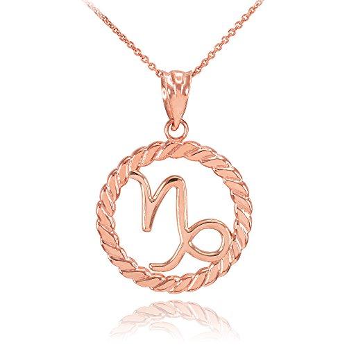Collier Femme Pendentif 14 Ct Or Rose Capricorne Zodiaque Signe À Cercle Corde (Livré avec une 45cm Chaîne)