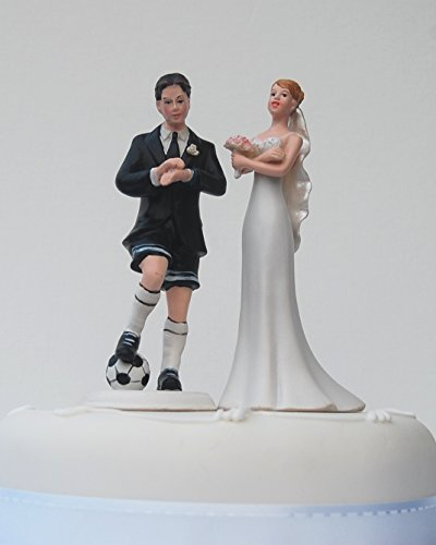Soccer Playing Groom - Humorous Cake Topper for Wedding Celebrations ()