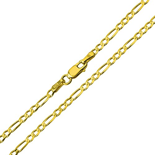 (Solid 14k Yellow Gold 2mm Figaro Link Chain Necklace,)
