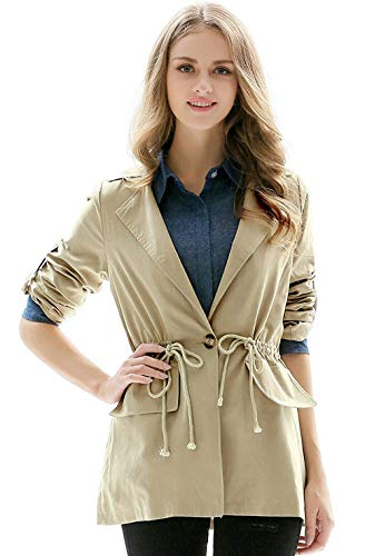 Eleganti Autunno Bavero Coat Cute Khaki Jacket Donna Leggero Primaverile Chic Coulisse Caftano Casual Monocromo Lunghe Trench Cappotto Moda Maniche wqnEzITxp
