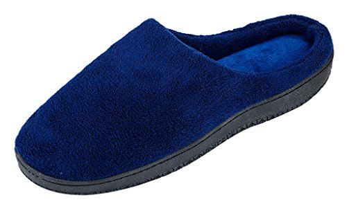 MIXIN Mens Coral Fleece Warm Soft Cozy Comfy House Indoor Anti Slip Mule Flats Slippers