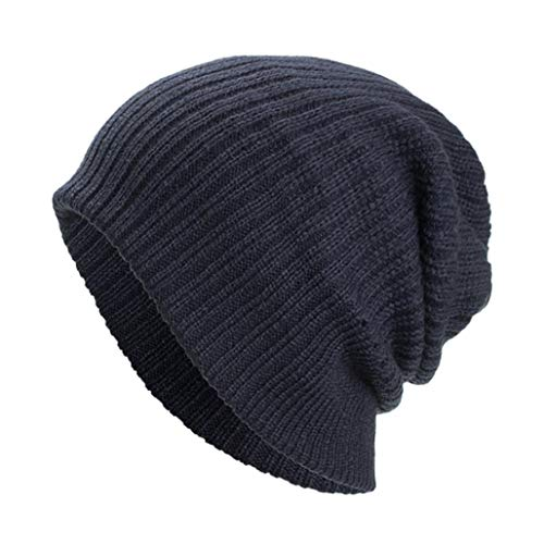 (TAORE Clothing, Hat Slouchy Cable Knit Beanie - Chunky, Oversized Slouch Beanie Hats for Men & Women (One Size, Navy))