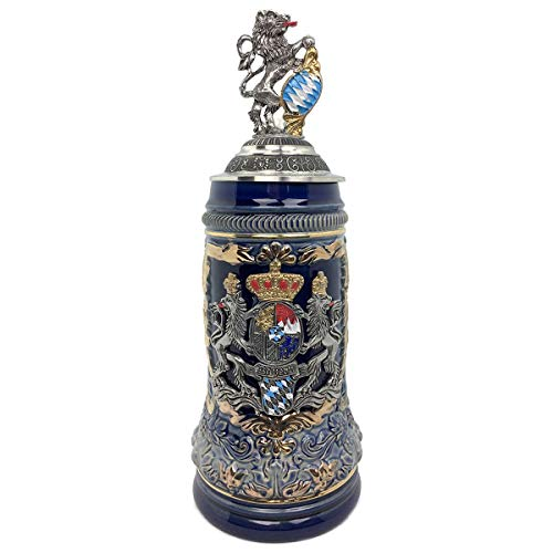 (Regal Lion Lid Bayern Coat of Arms Zoller & Born .75L Stein)