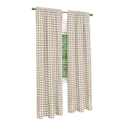 GoodGram Buffalo Check Plaid Gingham Custom Fit Window Curtain Treatments Assorted Colors, Styles & Sizes (Single 84 in. Panel, Taupe)