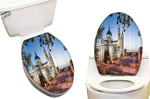 (Toilet Toilet Lid Decal Sticker Old Cathedral and Royal Palace in Madrid Mediterrenean Mod City Europe Toilet Seat Lid Cover Decals Stickers 13