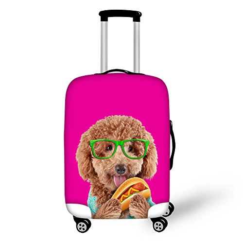 FOR U DESIGNS 18-21 inch Pink Poodle Print Luggage Cover for Carry on (Poodle Cover)