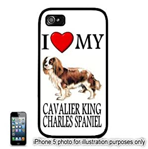 Cavalier King Charles Spaniel I Love My Dog Photo Apple iPhone 5C Hard Back Case Cover Skin Black FITS FOR 5C